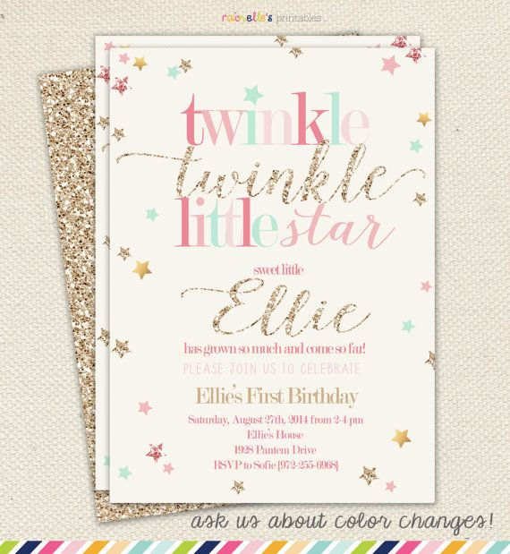 Twinkle Twinkle Little Star Girl Birthday Invitation