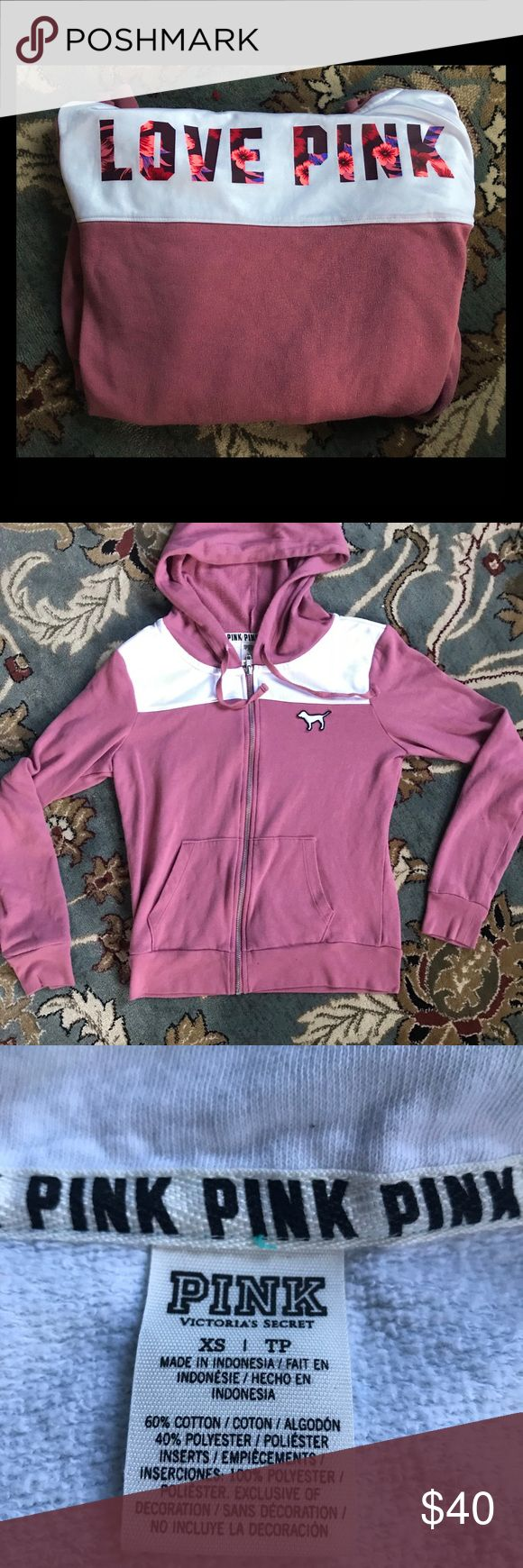 HTF VS pink Floral zip up hoodie Hard to find zip up vs Pink hoodie in perfect condition size small Has Love Pink on back in floral lettering. PINK Victoria's Secret Tops Sweatshirts & Hoodies
