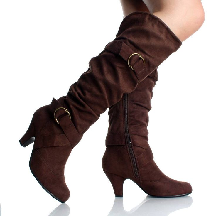Womens tall black leather dress boots