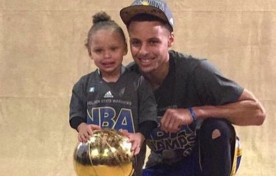 Riley Curry, league MVP Stephen Curry's two year-old daughter, has stolen the spotlight of post game... - Instagram/Kevin Morris
