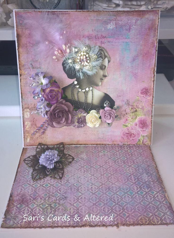 shabby easelcard,finnabair,vintage,lavender,lilac,romantic card