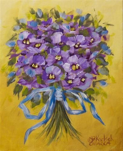 """Daily Paintworks - """"Ribboned Violets"""" by Bobbie Koelsch"""