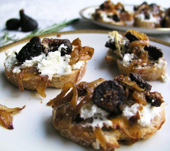 Goat cheese, caramelized onions and fig bruschetta - one of my all time favorite appetizers!