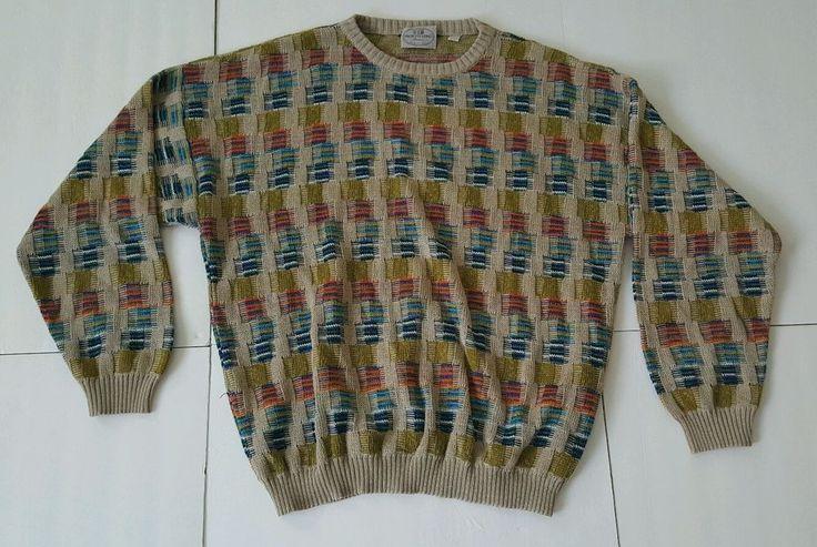 XL Pronto Uomo Firenze 3D Textured Mens Pullover Sweater Multicolored Italy  #ProntoUomo #Crewneck