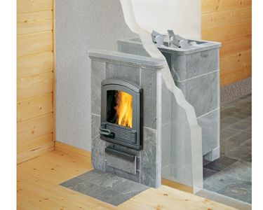 Tulikivi tk550 Fireplace and saunaheater in one! If I were to go with a wood burner, this is the one.