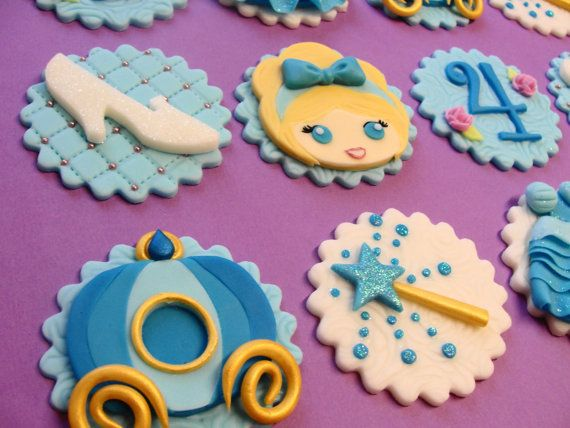 Princess Cupcake Toppers Fondant Cupcake Toppers by CherryBayCakes                                                                                                                                                      Mais