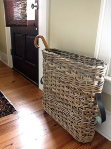This antique umbrella basket from Paris is one object helping to define the space as an entryway.