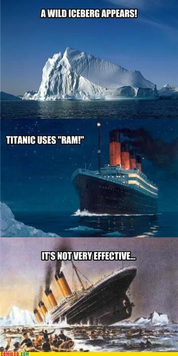 "Ice Berg uses ""Gouge"" it's super effective. Titanic Loses 1,502 HP."