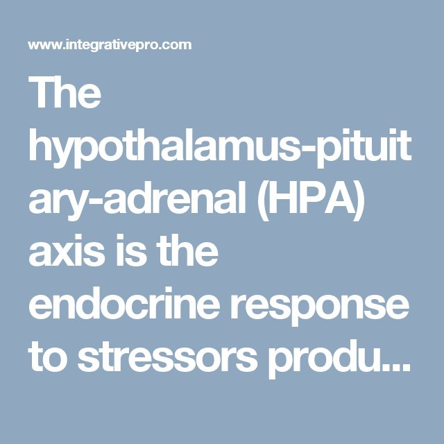 The hypothalamus-pituitary-adrenal (HPA) axis is the endocrine response to stressors producing adrenocorticotropic hormone (ACTH) from the pituitary gland with measurable changes in levels of plasma cortisol and salivary cortisol as produced in the adrenal cortex
