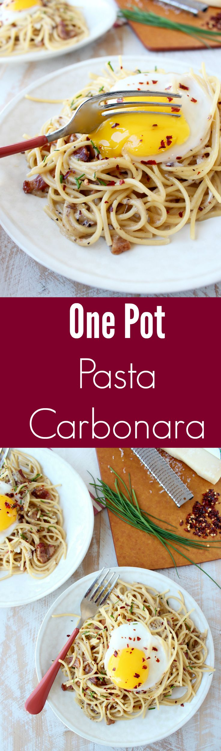 All the deliciousness of Pasta Carbonara, made in one pot, in 30 minutes! This dish is perfect served on World Market Muir Plates!  #WorldMarketTribe
