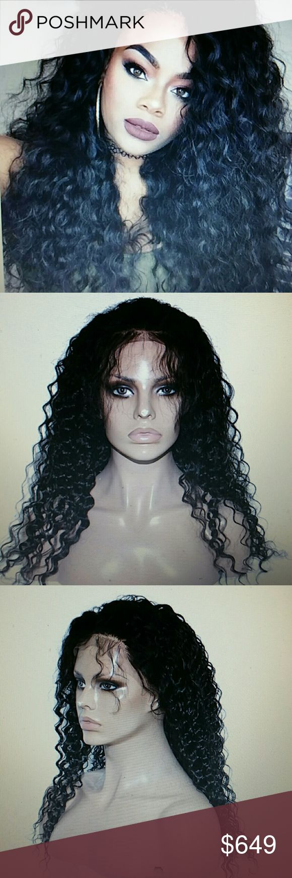 Brazilian Virgin Wavy Lacefront Wig 18-20 inches!! 100% Brazilian virgin human hair, silky softness and with elastic bands and combs,very full.can be dyed,bleached,straightened,restyled as the way you like. Accessories Hair Accessories