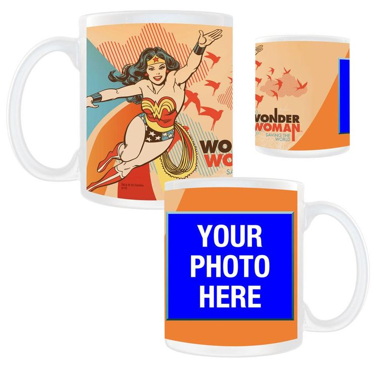 """Wonder Woman Saving The World Personalized Photo Mug from Warner Bros.: """"Celebrate your special Wonder Woman with… #Movies #Films #DVD Video"""