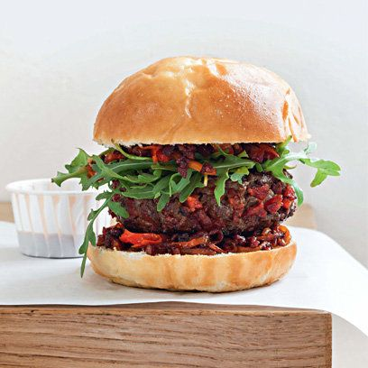 Beef with chorizo and paprika burger recipe. For the full recipe, click the picture or visit RedOnline.co.uk