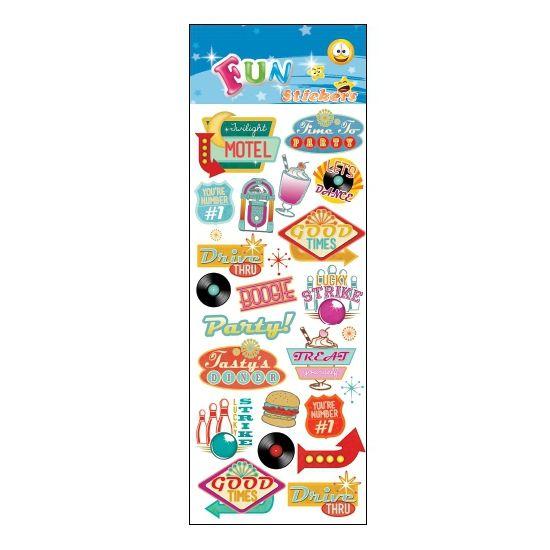 Stickervel retro jaren 50/60. Een stickervel vol met leuke stickers in het retro thema. Het vel bevat ongeveer 21 stickertjes.