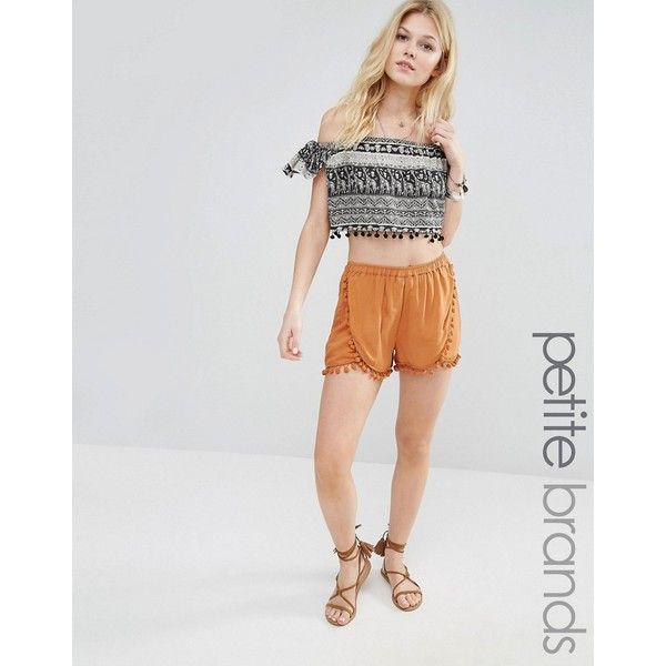 Vero Moda Petite Pom Pom Trim Shorts ($14) ❤ liked on Polyvore featuring shorts, brown, petite, stretch waist shorts, pompom shorts, high waisted shorts, high waisted pom pom shorts and high rise shorts