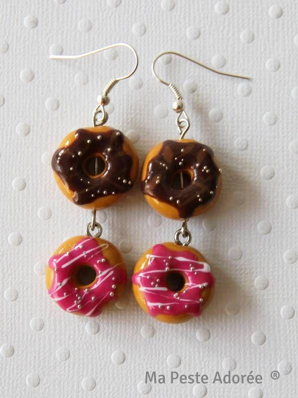 Boucles d'oreilles fimo Donuts par Ma peste adorée 10,00€ sur http://www.mapesteadoree.fr/boutique/ptits-biscuits/816-boucles-oreilles-fimo-donuts.html
