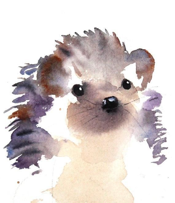 Hedgehog Watercolor Fine Art Print Forest Nursery Art