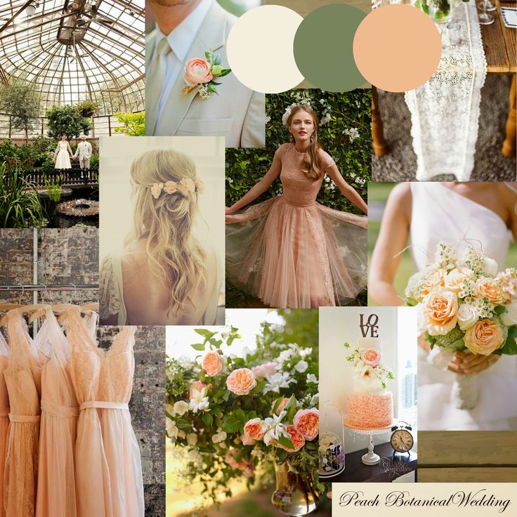 Peach, Cream & Green Botanical Inspired Wedding Inspiration Moodboard by http://knotsandkisses.blogspot.com