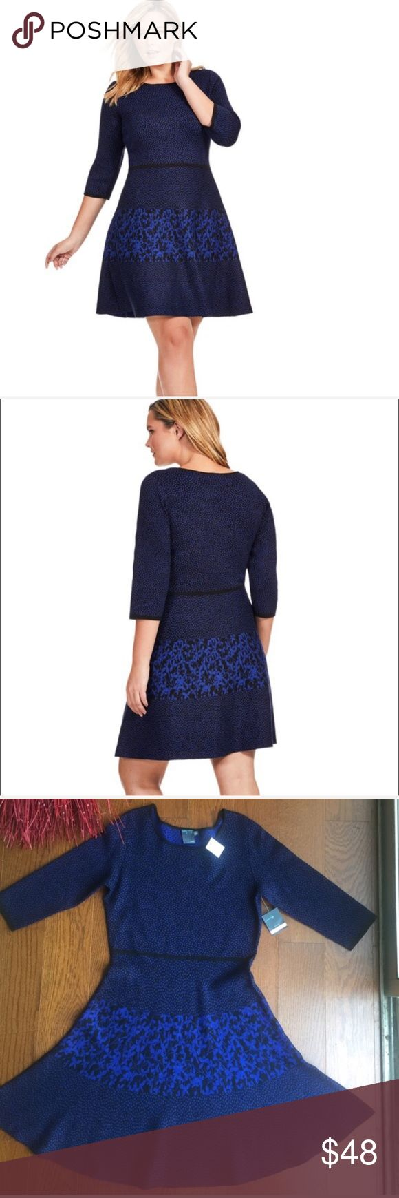💎GABBY SKYE 💎BLUE DOT PRINT KNIT DRESS💎 Nordstrom brand . This is a knit dress that will pull over  fit and flair three fourths sleeves. Beautifully made nice and heavy. No belt needed!!! Black trim ban around waist for shape definition. 38 inches flat. Just add boots and tights for that winter look!!!GABBY SKYE Blue Dot Print Sweater Dress GABBY SKYE Dresses Midi