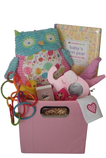 Baby's First Toy Box     $155.00   •Toy Box (28cm x 28cm x 28cm)  •Large PJ Pillow Pal (approx 30cm tall)  •Newborn bib  •Elephant frame  •Newborn socks  •Soap bar  •Bath duck  •Teething rings  •Cotton face washer  •Newborn singlet  •Baby's First Year Memory Book (Annabel Karmel)