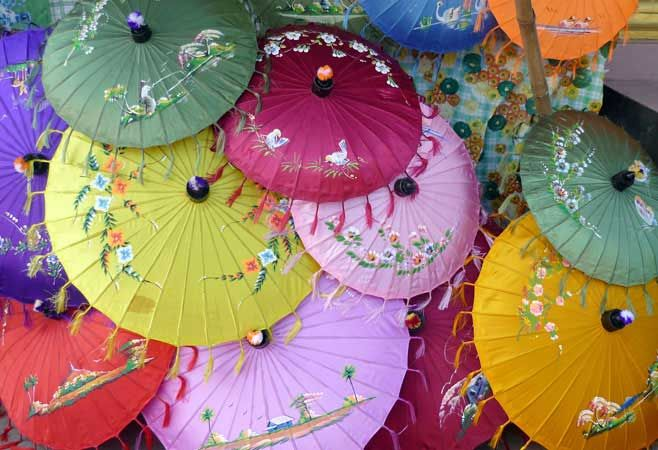 The colourful hand-made Pathein umbrellas are famous in ...