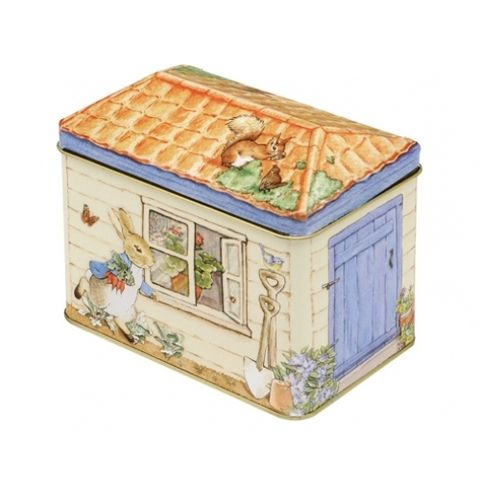 Peter Rabbit shed tin box with removeable lid. Store away those trinkets or a whimical lolly tin. Great classic childhood book character. Unisex present for both baby or adult!