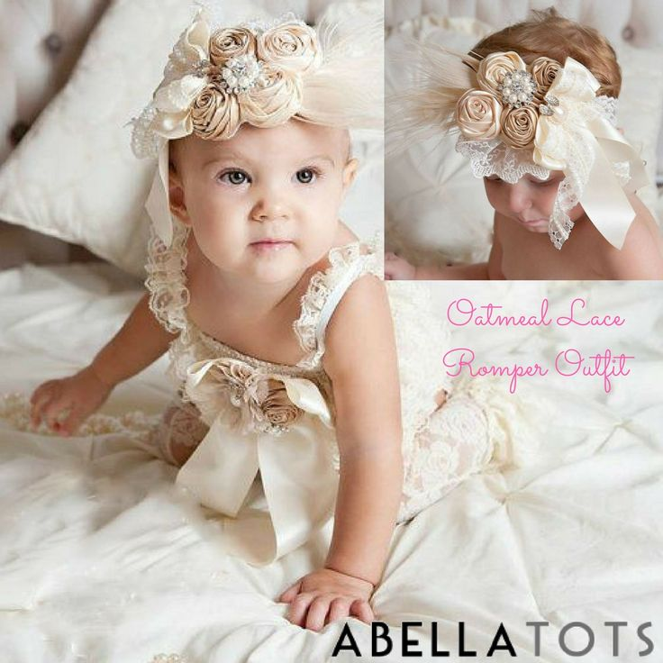 ~Oatmeal Lace Romper Outfit~ Look at this little DIVA! Our adorable Petti Rompers are perfect for any little girl and occasion!  Photos, birthday parties, ballet class or just a fun day at the park.