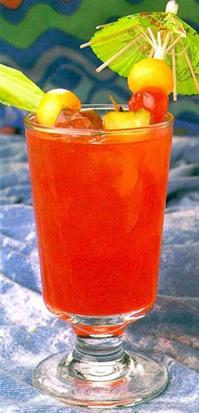 Jamaican Rum Punch recipe  1 cup Bacardi® 151 rum  1/2 cup Myer's® dark rum  1/4 cup Malibu® coconut rum  2 1/2 cups pineapple juice  2 1/2 cups orange juice  1/4 cup lime juice  3 tbsp grenadine syrup  ice cubes