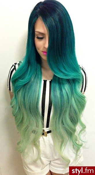 shoes and Hair  styles  on   Teal and hair prom Alexis      Green ideas silver  Sharpe   Ombre