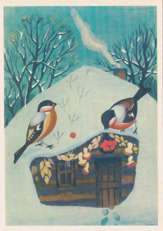 Postcard Illustration by Barakhtyansky for by RussianSoulVintage, etsy