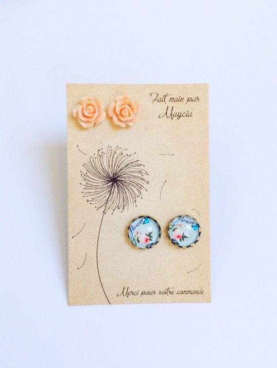 oorbellen cadeau set, glas cabochon sieraden, lente bruiloft bloem oorbellen van ebben hout presenteert voor bruidsmeisjes, romantische bloemen cadeauset
