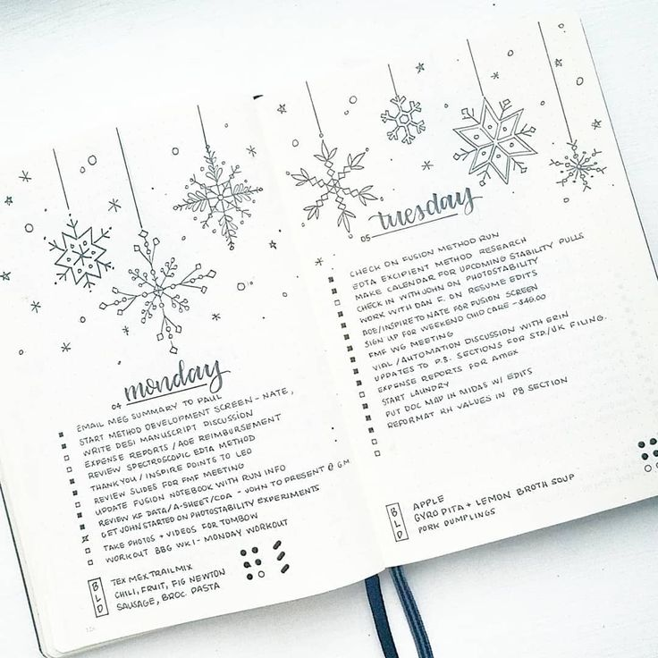 Bullet journal daily layout, calligraphy date headers, unique date headers,  snowflake drawings, Winter drawings, meal tracker. @bonjournal_