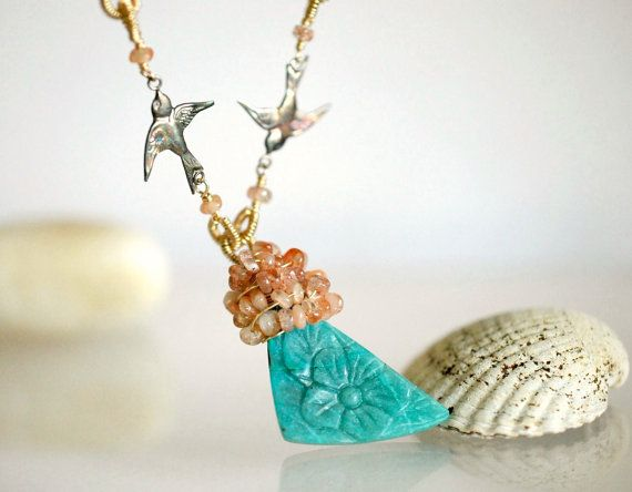 Birds flying high with Oregon Sunstone and Carved by ChaninBijoux, $380.00