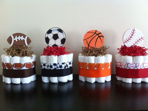 Set of 4 Mini Sports Diaper Cakes, Boy Sports Baby Shower, Football Basketball Baseball Soccer Diaper Cake, Sports Shower Decor on Etsy, $34.99