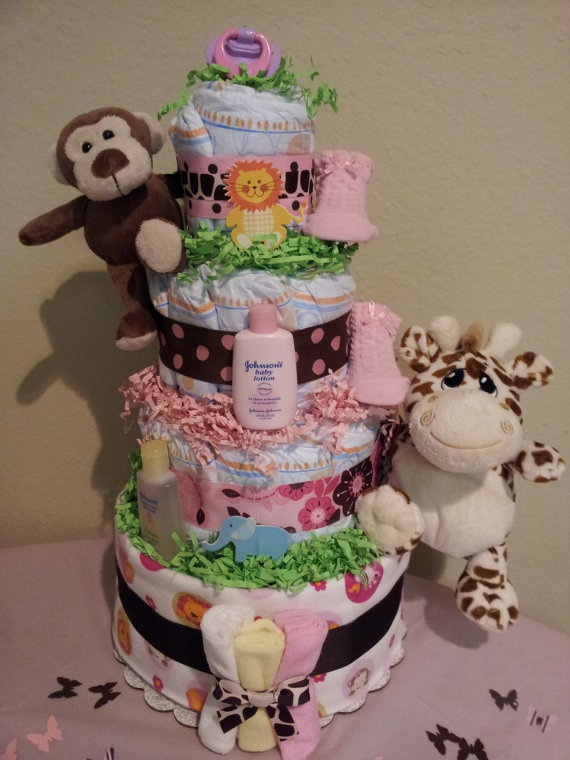 Jungle diaper cake for GIRL 4 tier diaper cake by diapercake4less, $68.00