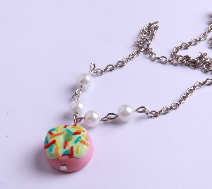"Polymer Clay ""Pearly Donut"" necklace by milk+biscuit, $14"