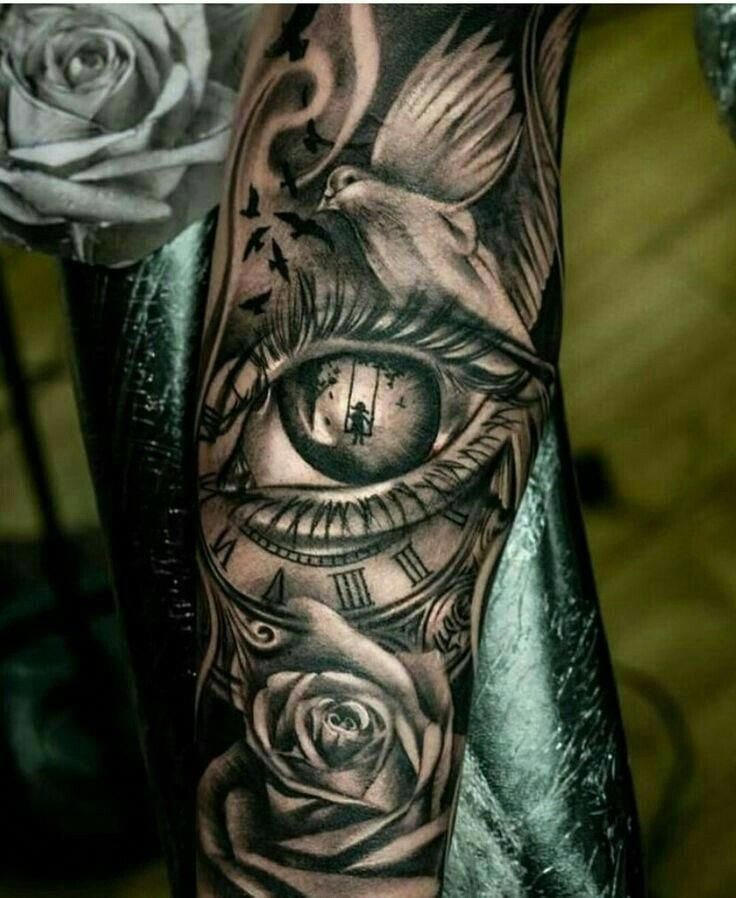 Eye In A Rose Tattoo: Sleeve Tattoo..watch Eye Rose Playing Cards #Sleevetattoos