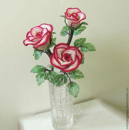 """Купить Букет из роз """"Розарий"""" бисер. - букет роз, композиция, бисер, подарок, сувенир, белый"""