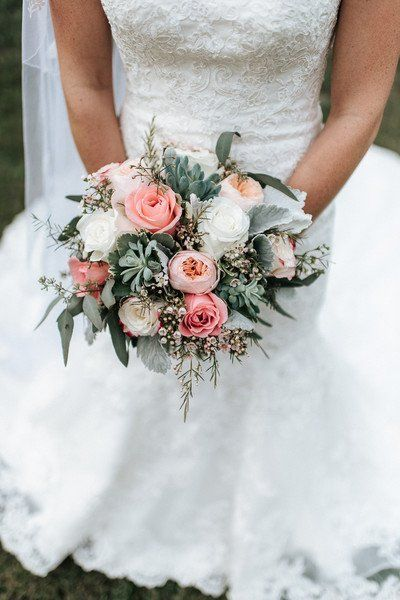 Succulent wedding bouquet - pink, white + greenery wedding bouquet with garden roses, wax flowers,  dusty miller and succulents {Larissa Marie Photography}