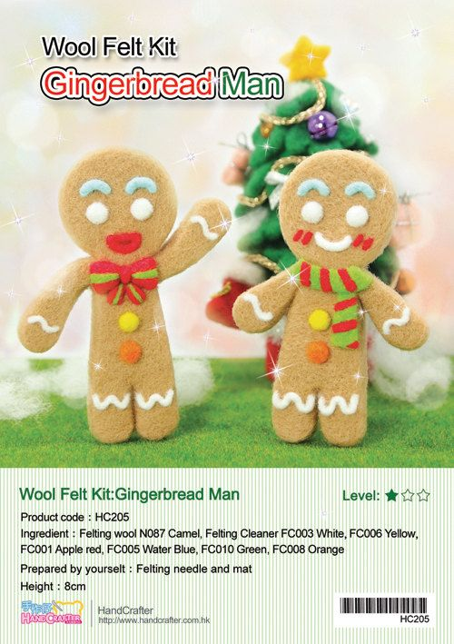 Needle Felting DIY Gingerbread man - English felt wool craft kit (English / Beginner)