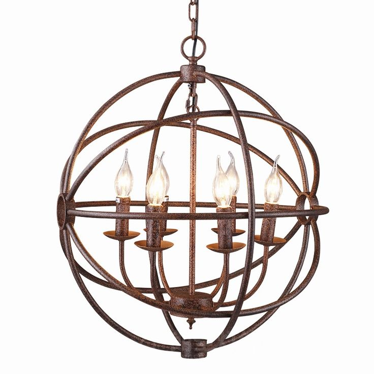 214.76$  Buy here - http://ali4sj.worldwells.pw/go.php?t=32712164398 - RH industrial Lighting Restoration Hardware Vintage Pendant Lamp FOUCAULT IRON ORB CHANDELIER RUSTIC IRON Gyro Loft light 52cm 214.76$