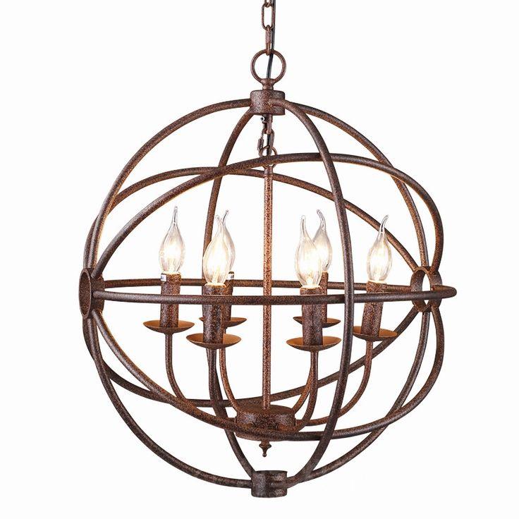 214.76$  Buy here - http://ali4sj.worldwells.pw/go.php?t=32712164398 - RH industrial Lighting Restoration Hardware Vintage Pendant Lamp FOUCAULT IRON ORB CHANDELIER RUSTIC IRON Gyro Loft light 52cm 214.76$