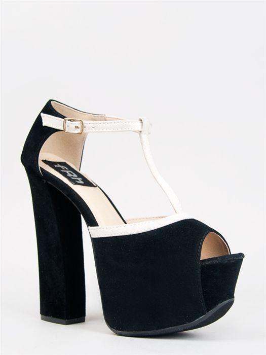 Fahrenheit ANNE-53 T-Strap Chunky Heels