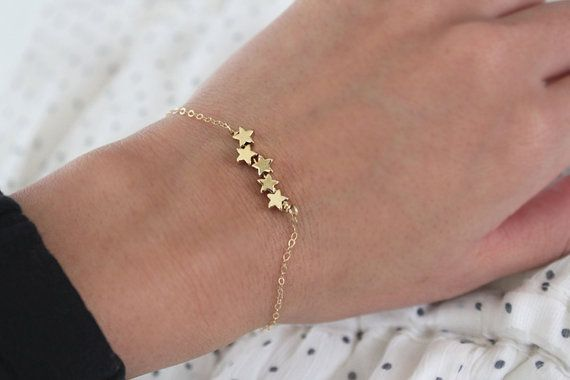 Star Bracelet Tiny Gold Puffy Stars Shooting Stars by junghwa, $19.00