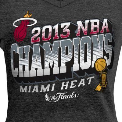 Miami Heat 2013 NBA Finals Champions Ladies V-Neck T-Shirt - Black