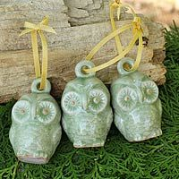 Festive Light Green Owls from @NOVICA, They help #artisans succeed worldwide.
