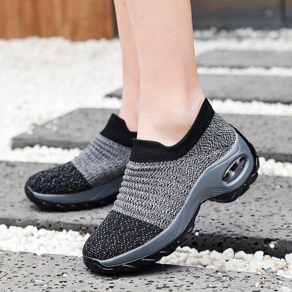 Women Walking Shoes Sock Sneakers Mesh Slip On Lady Platform Shoes Wish Walking Shoes Women Women Shoes Sock Shoes