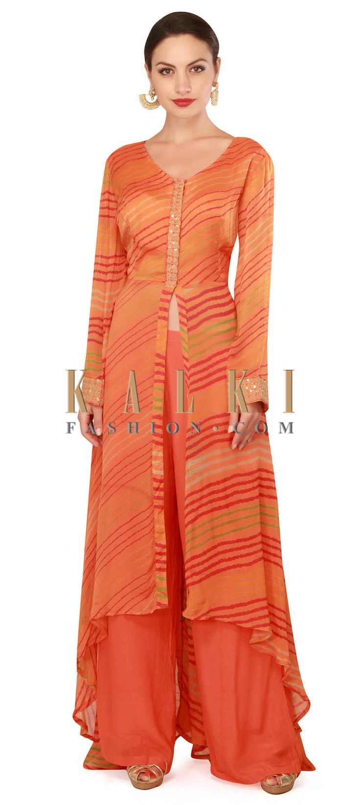 Buy now Orange fancy suit with palazzo pant only on Kalki