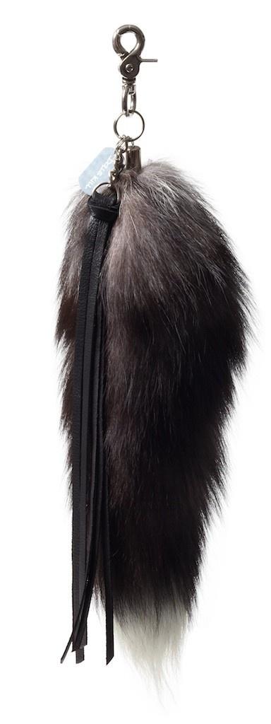 grey fox tail keychain