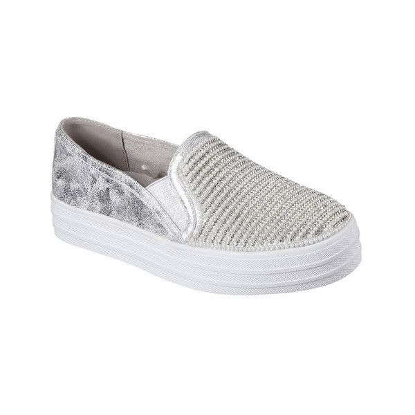 Women's Skechers OG 97 Double Up Shiny Dancer Slip On Sneaker ($62) ❤ liked on Polyvore featuring shoes, sneakers, casual, ornamented shoes, silver, black slip on sneakers, black slip-on shoes, black sneakers, skechers sneakers and platform sneakers
